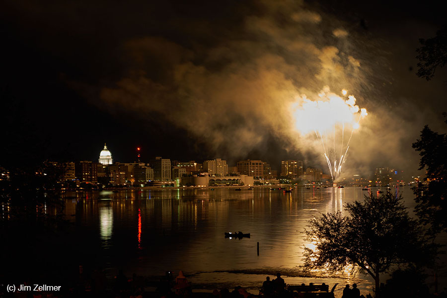 Lake Monona, Capitol, Monona Terrace Madison, WI by Jim Zellmer June 2015 Fireworks Shake the Lake